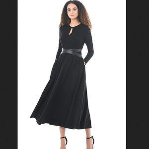 eShakti Faux leather cross waist cotton knit midi